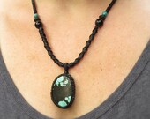Reversible Turquoise and Silk Necklace with Tigers Eye, Lava Rock, and Sterling Silver Clasp