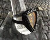 Tigers Eye Black Silk Ring