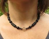 Ancient Thai Pyu Tarawadee Bead and Lava Stones in Silk Necklace