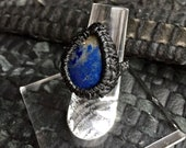 Sodalite Teardrop Black Silk Ring