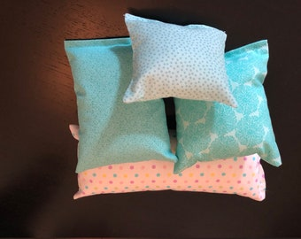 Turquoise and Dots - 4-PC. Doll Pillow Set