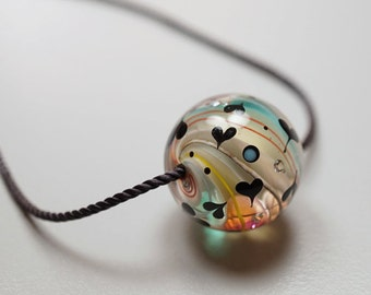 I Love You Gift // Marble Bead // I Love You // Lampwork Necklace