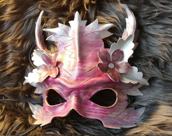 Green man winter leather mask