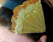 Art Deco gold Beaded Headband  SALE