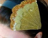 Art Deco gold Beaded Headband  SALE