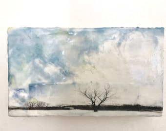 Original Mixed Media Encaustic on Wood - Photography and Oil Painting - Winter Tree
