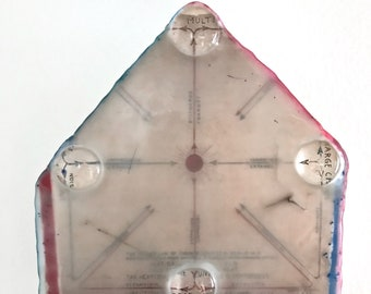 Original Mixed Media Encaustic on Wood House Shape - Magnified