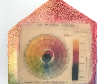 Original Mixed Media Encaustic on Wooden House Shape - Color Wheel