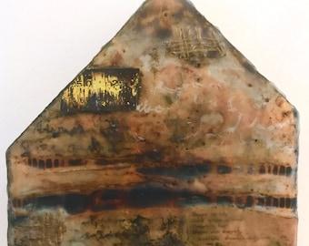 Original Mixed Media Encaustic on Wood House Shape - Texture