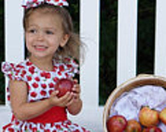 Girls Apple Dress,  Back to School dress, Fall Dress