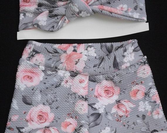 Floral Bummies Set, Gray and Pink, Gift set, 6-9 months, Handmade