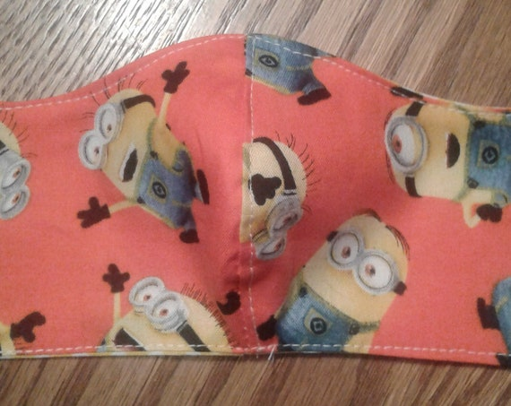 Face  Masks, Minions Handmade fabric face mask, Kids 7-12 yrs, Ready to ship, Free shipping