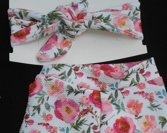 Girls Floral Bummie Set, Baby Gift, 6-9 months,  Nappy and Knot Headband,