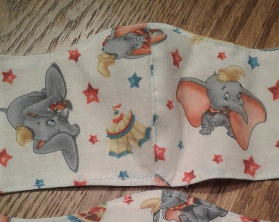 Disney Face Masks,Handmade fabric face mask,Dumbo mask, Disney Inspired Face mask, Women's face mask, Childrens face mask
