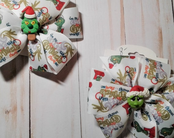 Grinch Bows ,Handmade Christmas Hair clips, Holiday bows, Ready to ship
