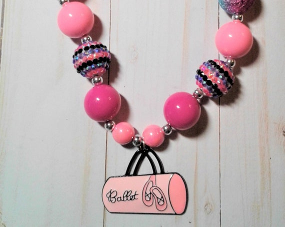 Ballet Inspired Bubblegum necklace, Girls jewelry , Ready to ship