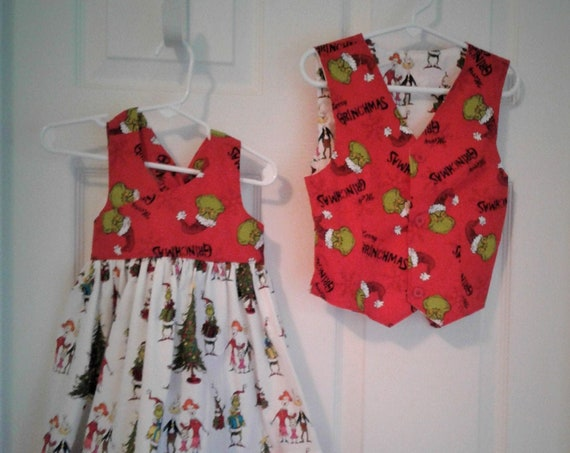 Brother/Sister Grinch outfits, Siblings Christmas,Matching Outfits, Grinch Christmas