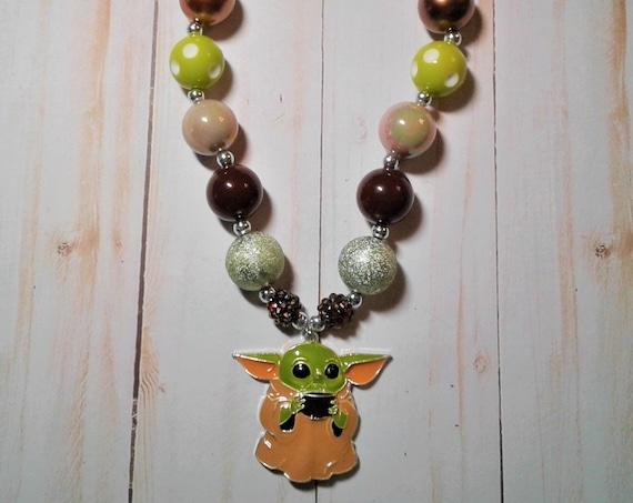 Baby Yoda Necklace , Mandalorian Child, Children's Jewelry, Toddler Jewelry, Bubblegum necklace, Ready to ship