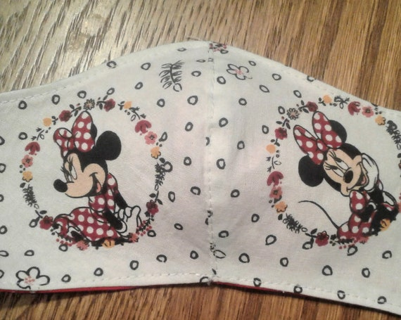 Face Masks,Handmade fabric face mask, Minnie Mouse mask, Disney Inspired Face mask, childs size 3-6 years, Ready to ships,