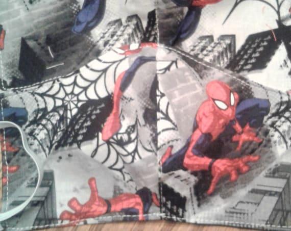 Face Masks, Spiderman Face Mask  Handmade fabric face mask,Adult face mask, Boys size mask, Free shipping, Ready to ship