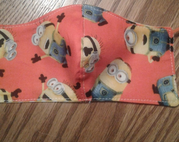 Boys Face  Masks, Minions Handmade fabric face mask, Kids 3-6 yrs, Ready to ship, Free shipping