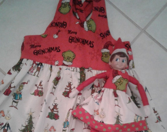 Grinch Dress with matching Elf dress, Christmas Elf dress, Dollie and Me, Holiday Elf