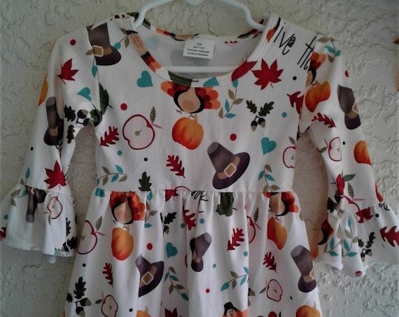 Thanksgiving Dress, Girls Turkey dress, Fall Print Dress, Milk silk dress, Toddler dress, Baby Dress, Ready to Ship,