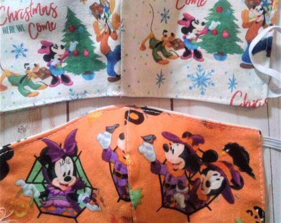 Holiday Reversible mask, Disney Mickey and gang,  Halloween, Christmas, Reusable, Washable, Adult,Kids sizes