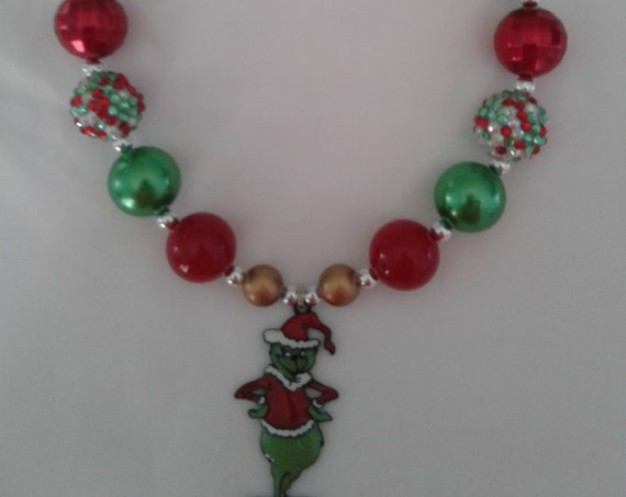 Grinch necklace, Grinch Christmas, Childrens  Jewelry, Toddler Jewelry, Bubblegum necklace