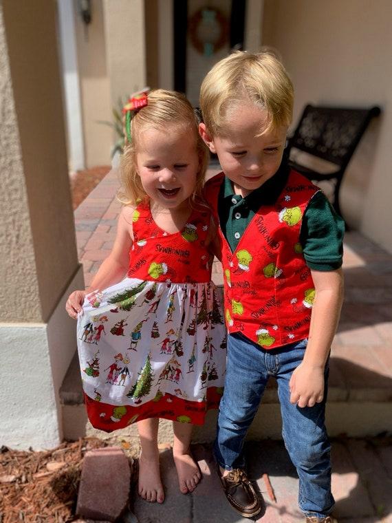 Christmas Grinch Dress, Grinchmas, Santa Photo, Free shipping
