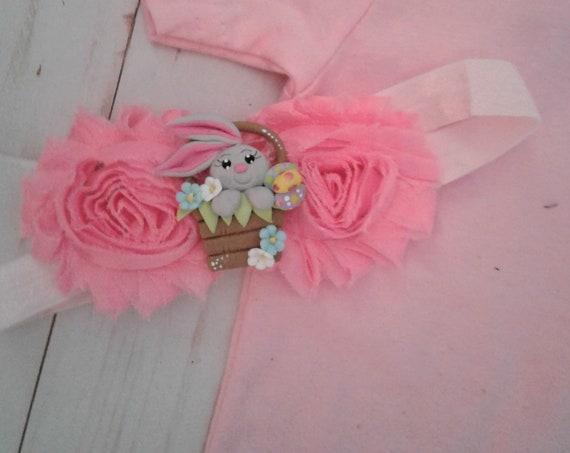 Easter Headband, Baby Headband, Bunny Headband, Girls Elastic Headband