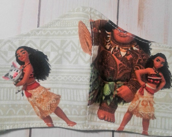 Moana Face Mask, Disney Princess Handmade fabric mask, Washable mask,Reusable Mask ,