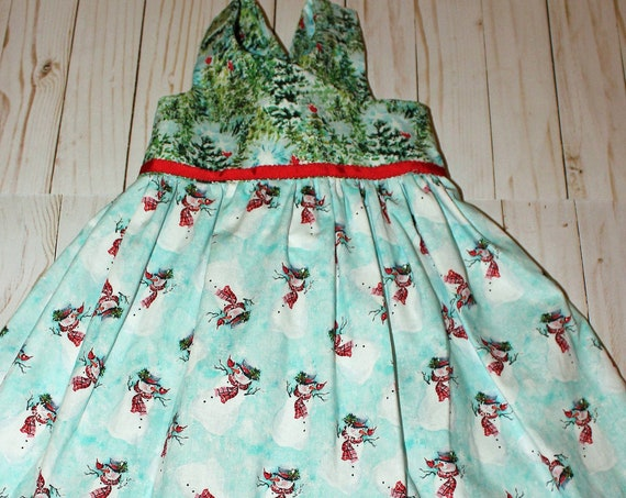 Girls Christmas Dress, Handmade,  Snowmen Winter Wonderland dress, Christmas Party dress