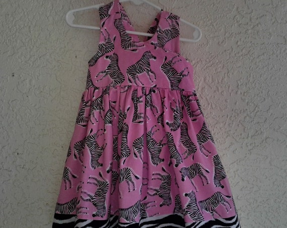 Zebra Print Dress, Pink Zebra Toddler dress ,Animal Print, Free Shipping