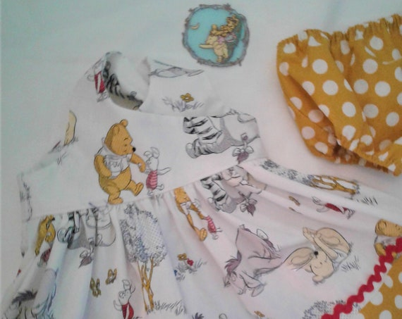 Winnie The Pooh Birthday Dress, Disney Dress,Dress and Bloomers