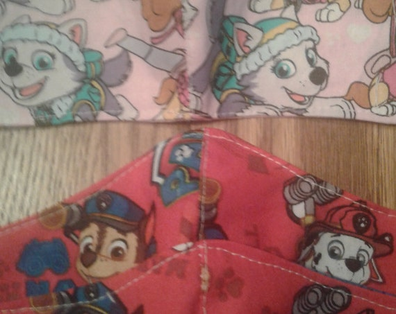 Paw Patrol face mask, Handmade fabric face mask, 7-12 yrs and 3-6yr ,Ready to ship