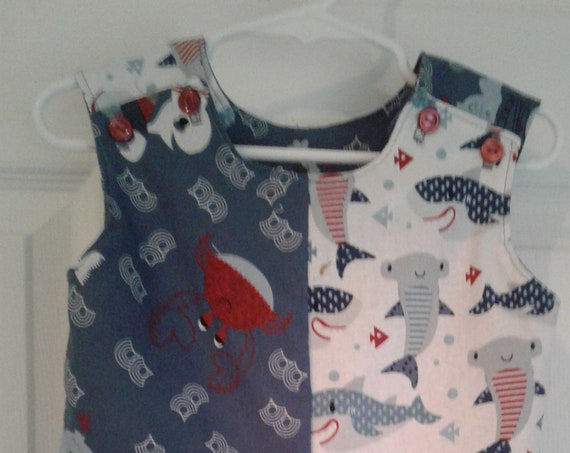 Boys Romper , Child's Jon-Jon, Baby Romper, Toddler Romper, Baby Sharks, Summer Outfit