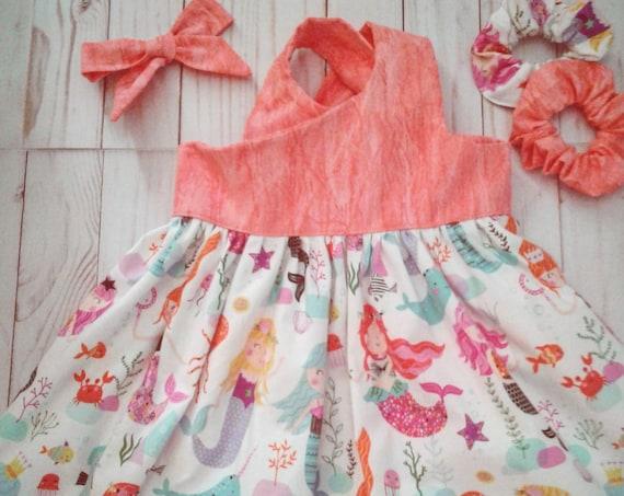Mermaid girls dress, Summer sundress, Narwhals, Sea creatures