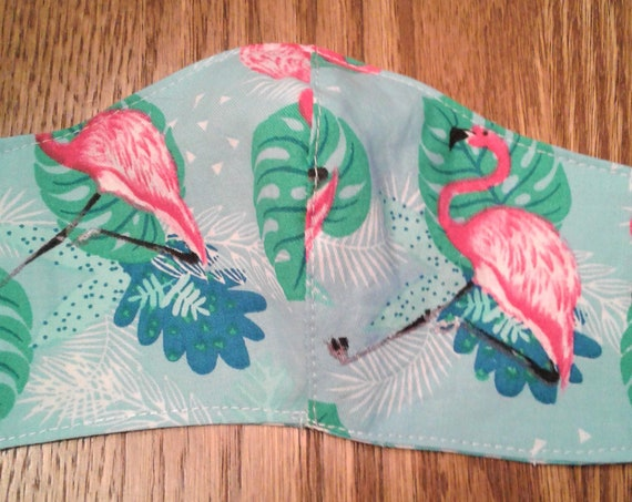 Face Masks, Flamingo Handmade Fabric Face cover,Reversible Face Mask ,Women's mask, Free shipping, Ready to ship