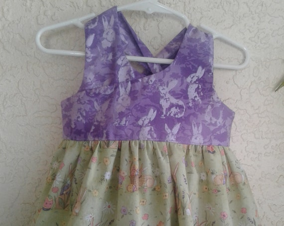 Girls Easter Dress, Handmade Dress, Baby Easter dress, Toddler dress, Bunny Print Dress,, Easter Sundress