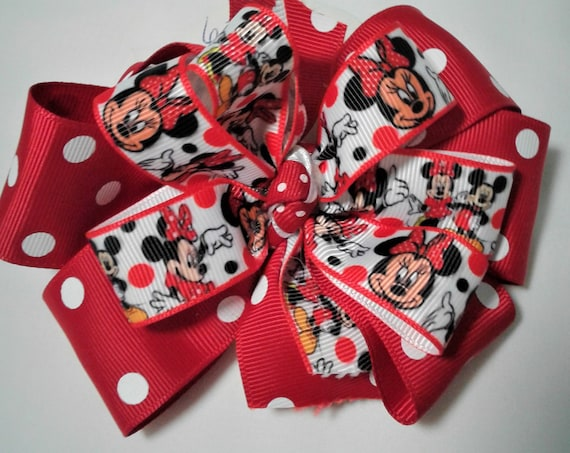 Minnie  Mouse Bow, Disney Mickey Bow, Toddler bow, Girls Disney Bow, Birthday Bow, Disney Vacation