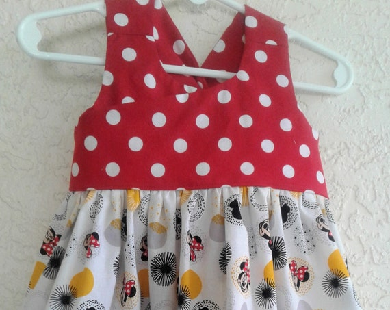 Minnie Mouse Dress, Disney Inspired Dress, Baby Disney,Toddler Dress Disney Parks,Disney Vacation, Minnie Birthday. Free Shipping