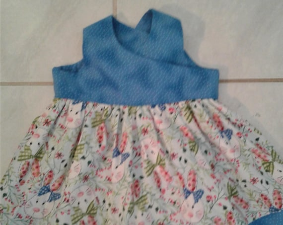 Girls Easter Dress, Handmade Dress, Baby Easter dress, Toddler dress, Bunny Print Dress, Blue Baby Dress, Easter Sundress