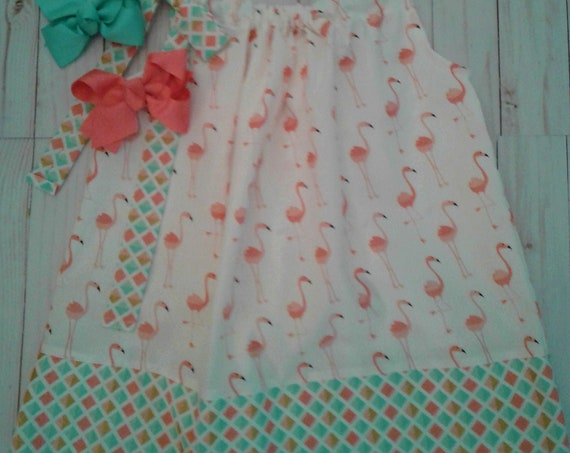 Girls Flamingo Dress, Handmade Summer sundress, Baby Dress, Toddler Outfit, Beach Cover-up