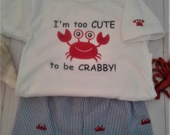 Boys Summer Crab Outfit, Seersucker shorts, Toddler Shorts set, Baby Shorts set