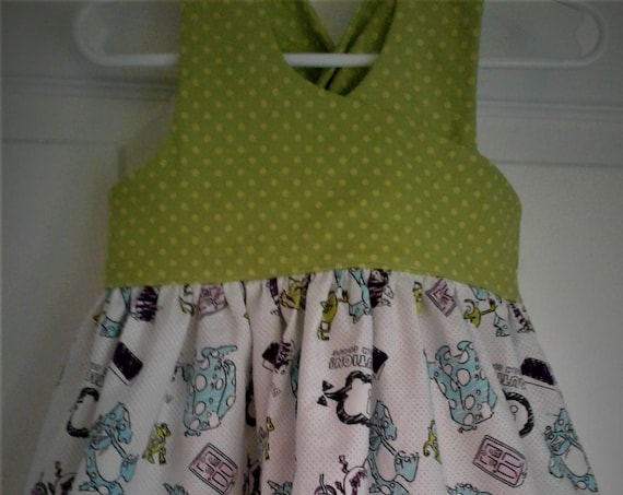 Monsters inc Dress, Disney Mike and Sully Dress,Girls Disney dress, Birthday dress,Disney Vacation,Disney Parks ,FREE SHIPPING