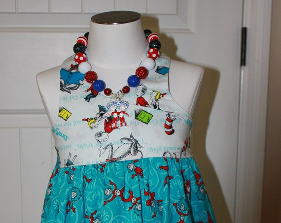 Dr Suess Cat in the Hat Dress,Matching Necklace Handmade Dress, Thing 1 and Thing 2 dress, Toddler Party Dress,  FREE SHIPPING,