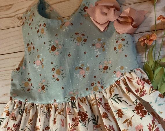 Floral Fall Dress, Girls back to School, Fall Festival,
