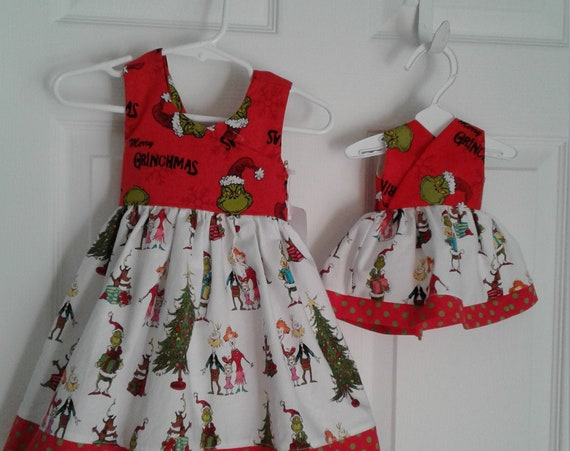 Grinch Dress, Christmas Dress, Baby Dress, Toddler Dress, Santa Photo, Free shipping