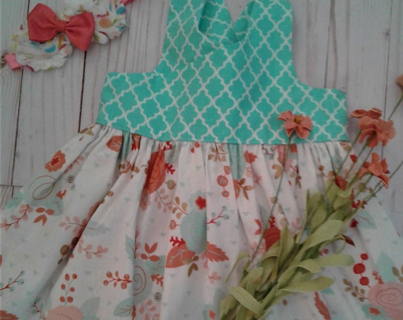 Girls Floral Dress, Shabby chic dress, Easter Dress, Baby floral dress, Toddler Peach floral dress